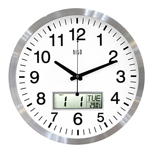 hito Silent Wall Clock Non Ticking 14 inch Large Oversized Date Day Indoor Temperature, Excellent Accurate Sweep Movement Silver Aluminum Frame, Decorative for Living Room, Bedroom, Office LCD-S