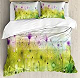Ambesonne Watercolor Duvet Cover Set Queen Size, Abstract Blurred View of Purple Cosmos Flowers Blooming Meadow, Decorative 3 Piece Bedding Set with 2 Pillow Shams, Purple Apple Green White