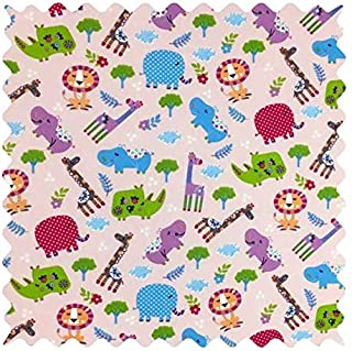 product image for SheetWorld 100% Cotton Percale Fabric by The Yard, Safari Animals Pink, 36 x 44