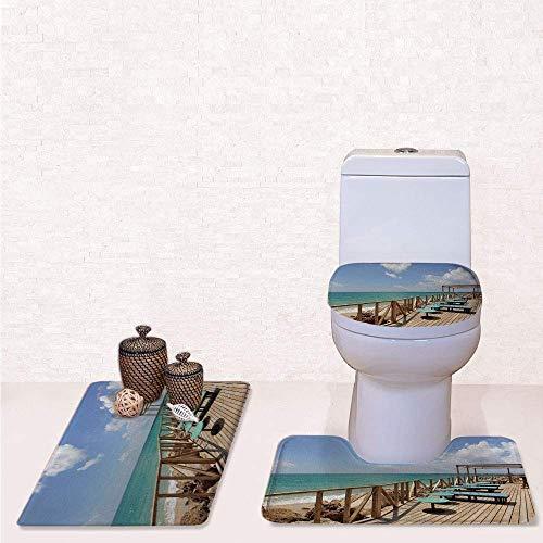3 Pcs Soft Bathroom Rug Set Includes Bath Mat, Contour Rug,Lid Cover,Bar Terrace Beach Shore Culatra Island Portugal Vacation Holiday with Mint Green Light Brown,Decorate Bathroom,Entrance Door,ki