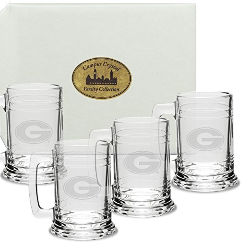 CC Glass Georgia Bulldogs Deep Etched Colonial Tankard Set of 4
