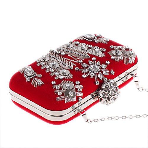 mariage la Red bal sac velours Nouveau la de soirée pour sac soirée sac sac d'embrayage main de fait de de perlé main à à qgqYBxRd