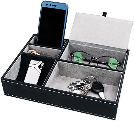BEITEPACK Valet Tray Nightstand 5 Compartments Black PU Leather Wallet Key Organizer, Lighter,Glasses,Key and Cellphone Men Exquisite Life