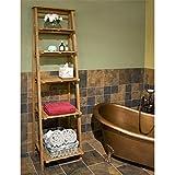 Naiture Oversized Ladder Style Teak Bathroom Shelf