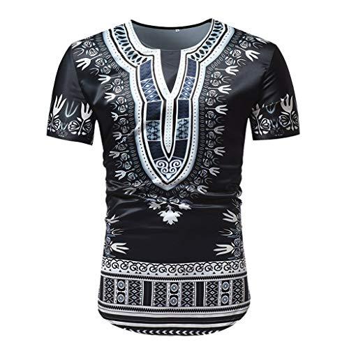 Men's Summer Fashion African Style Print Round Neck Short Sleeve Top Shirt Blouse Outdoor t Shirt Black