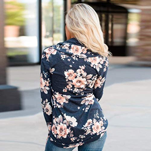 Modello Vintage Autunno Lunghe Tempo Rotondo Primaverile Top Libero Shirts Eleganti Camicia Fashion Grazioso Stlie Bluse Collo Felpe Blau Fiore Tops A Donna Maniche FqtUPxSw