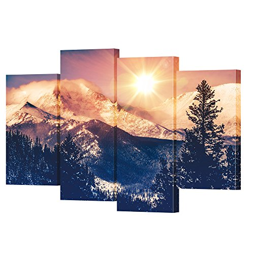 VVOVV Wall Decor - Sunrise Art Canvas Painting Colorado Mountains Pictures Wall Art Rocky Mountain Landscape Photographs Home Decor for Living Room
