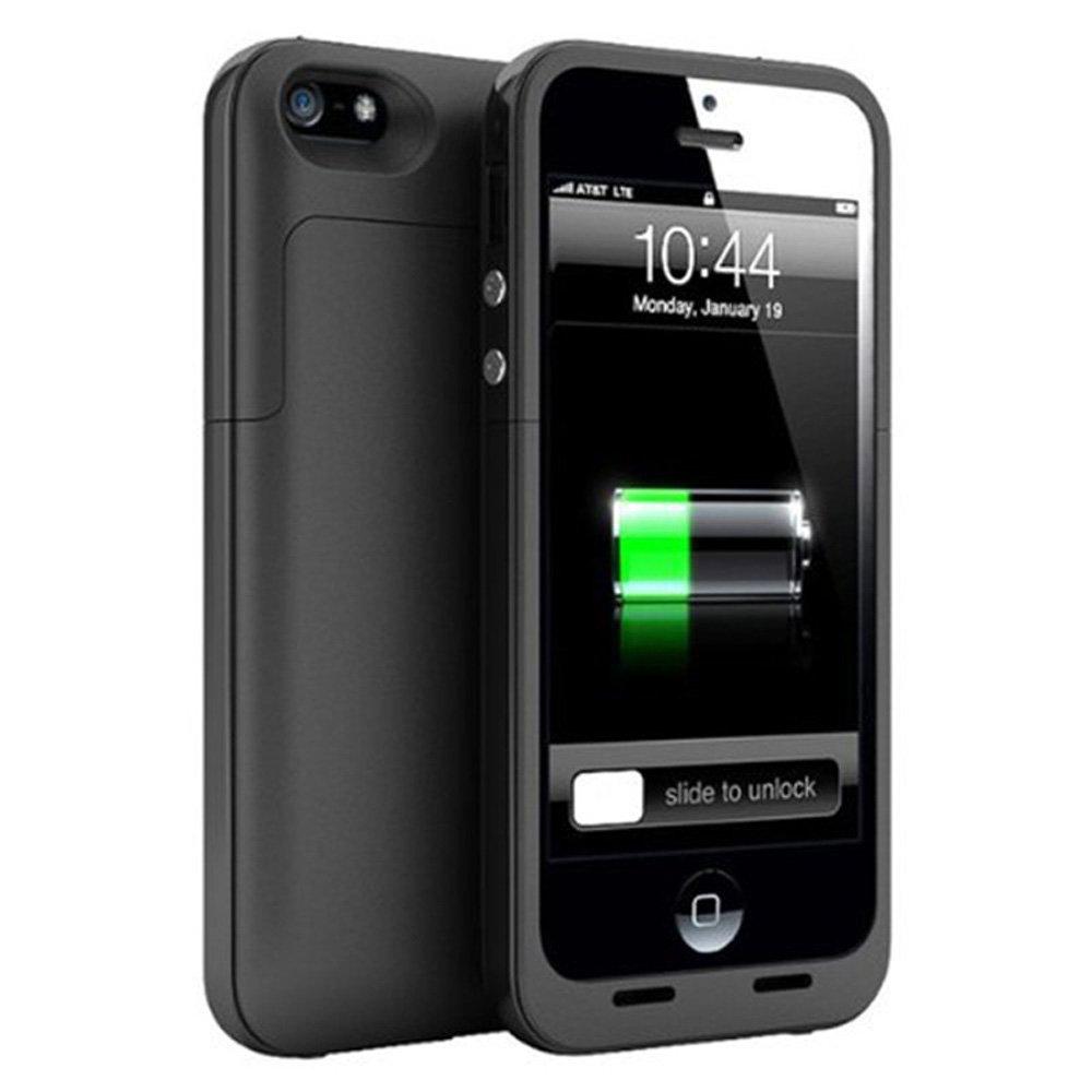 NOVPEAK Funda Batería iPhone 5S SE 5, 2500mAh Pila de Batería de Respaldo Portátil Externa Backup Power Pack Bank con 4 Luces LED para iPhone 5 / 5S / ...