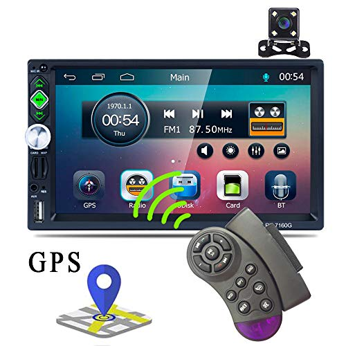 Touch Screen Capacitance - Double Din GPS Car Stereo Radio 7'' TFT Capacitance Touch Screen Car MP5 Player with Bluetooth GPS FM AM RDS Radio Receiver Support Rear Camera