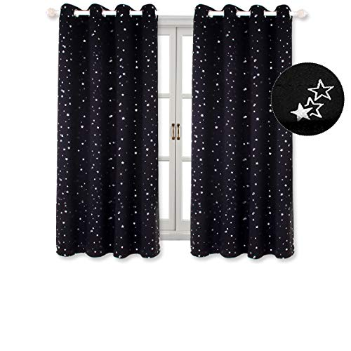 BGment Kids Blackout Curtains for Bedroom - Silver Star Printed Thermal Insulated Room Darkening Grommet Curtains for Living Room, Set of 2 Panels (52 x 63 Inch, Black)