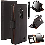 LG G Flex, E LV Deluxe PU Leather Flip Wallet Case Cover for LG G Flex D959 / D950 / LS995 with 1 E LV Stylus and 1 Microfiber Digital Cleaner (Black)