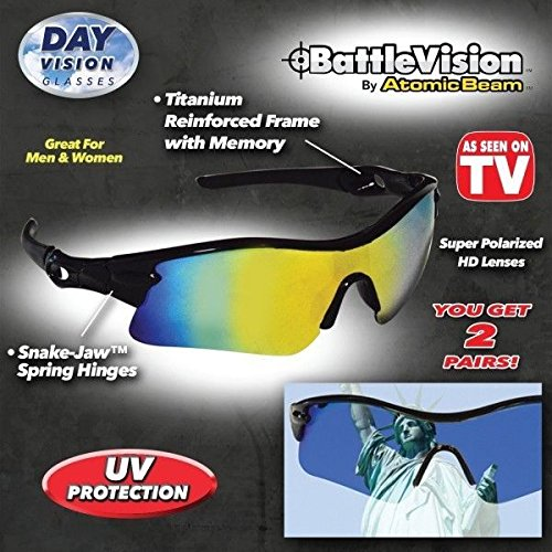 Battle Vision HD Polarized Sunglasses See everything 10X clearer! As Seen On TV!! - Hd Tv Seen Sunglasses On As