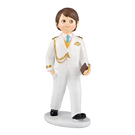 Mopec Figura para Pastel de Comunión niño Vestido de Almirante en Blanco, Pack de 2 Unidades, Poliresina, 5.40x8.00x17.00 cm,