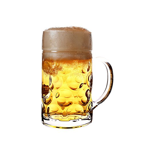 Glencreag 34-Ounce Dimpled Glass Beer Stein Mug in German Oktoberfest Style, Extra Large Capacity