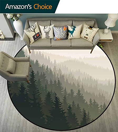 Forest Round Rug mat Non Slip,Northern Parts of The World with Coniferous Trees Scandinavian Woodland Carpet for Children Home Decorate,Cream Tan Dark Green,D-79