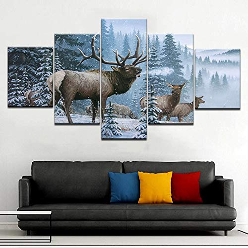 GUDOJK Milu Deer Snow Snow Trees Animal Wall Posters Arte de ...