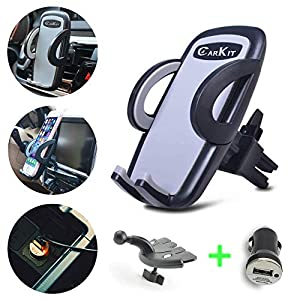 51XON bjXWL. SS300  - CarKit 2-in-1 Universal Cell Phone Holder For Car Air Vent/CD Slot & Bonus Car Charger Car Phone Holder Mount For iPhone X Xs Xs Max 8+ 8 Samsung Galaxy S10+ S10 S9+ S8+ S7 Edge and Other Smartphones