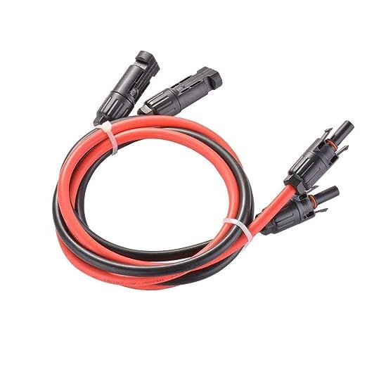 1M negro y rojo Par de cable de extensi/ón solar de 6 mm/² 10 AWG con cable conector MC4 para cable de extensi/ón adaptador de panel solar