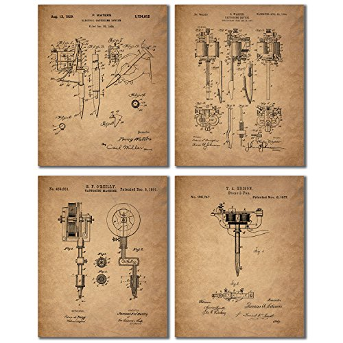 Tattoo Artist Patent Prints - Set of 4 Vintage Wall Art Photos