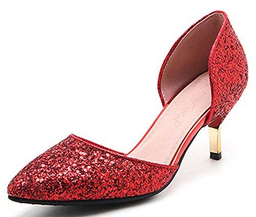 Idifu Femmes Paillettes Paillettes Mi Chaton Talons Glisser Sur D-orsay Pompes Rouge