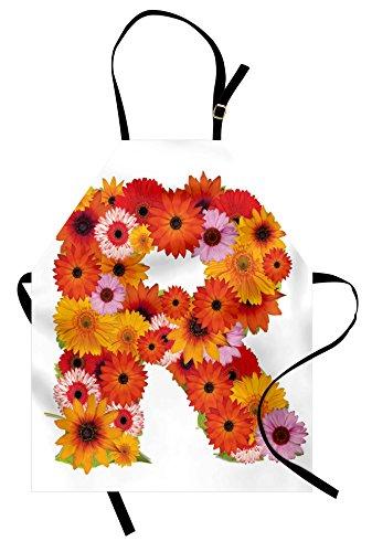 - Ambesonne Letter R Apron, Gerbera Daisies Abloom in R Symbol Shape Summer Time Flowers Spring Bouquet Print, Unisex Kitchen Bib Apron with Adjustable Neck for Cooking Baking Gardening, Dark Orange