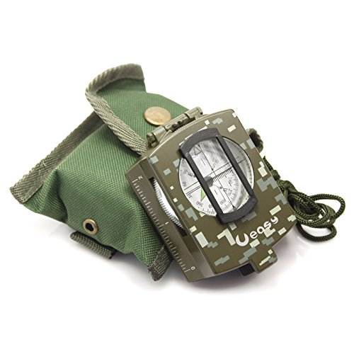 Ueasy Professional Multifunction Military Army Metal Sighting Compass High Accuracy Waterproof Compass Pocket Military Army Geology Metal Compass Camouflage Color