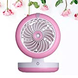 elecfan Air Conditioning Sprayer Fan, Mini Foldable Humidifier USB Fan, Angle Adjustable,Portable 2000mA Power Bank, Rechargeable Desktop Cooling Misting Fan - Pink