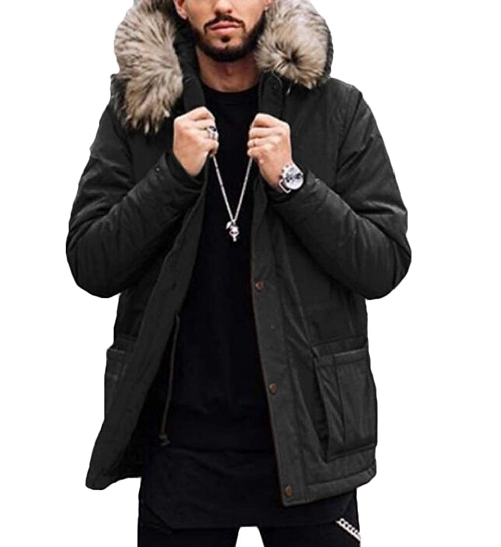 UUYUK Men Warm Hoodie Faux Fur Collar Quilted Pockets Down Jacket