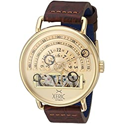 Xeric Men's Automatic Stainless Steel and Leather Watch, Color:Brown (Model: HLG-3020)