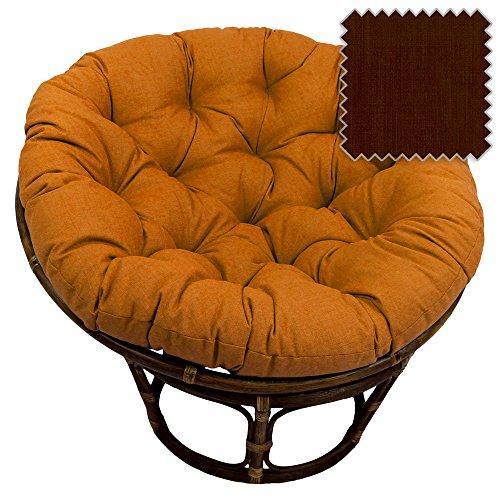 42-Inch Bali Rattan Papasan Chair with Cushion - Solid Outdoor Fabric, Cocoa (Rattan Bowl Chair)