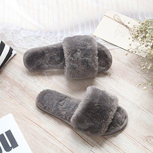 Fankou fondo piatto pantofole di cotone femmina esterno inverno indossare pantofole home incantevole autunno inverno spesso maglione anti-slittamento ,39-40, grigio