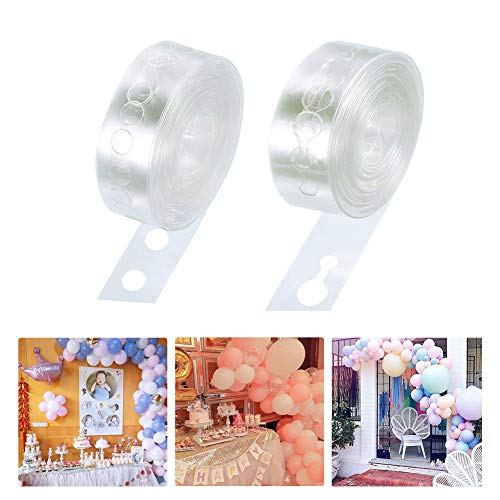 Balloon Tape, Yuccer 2 Pcs Balloon Decorating Strip 16.5Ft Reusable Tying Tool, Easy to Make Balloon Arch Garland Streamer for Wedding Baby Shower Birthday Party