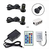 1.5W 12VDC Dimmable LED Mini Spotlight Jewelry Showcase Display Lights Black Shell Surface Mount with Wireless IR Dimmer (Pack-2,Cold White)