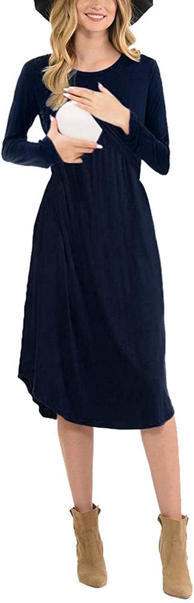 Schwanger Damen Umstandsmode Umstandskleid Schwangerschaftskleid Stillkleid
