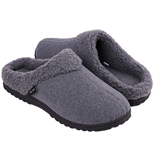Snug Leaves Mens Cozy Memory Foam Slippers Wool Plush Fleece Lined Indoor Outdoor House Shoes (X-Large, ()
