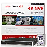 HIKVISION DS-7608NI-Q2/8P 8CH PoE NVR Network Video Recorder w/ Pre-Installed 2TB Hard Drive, Embedded Plug & Play, Up to 8MP (4K) Resolution, H.265+, Onvif Compatible Hikvision IP Camera System