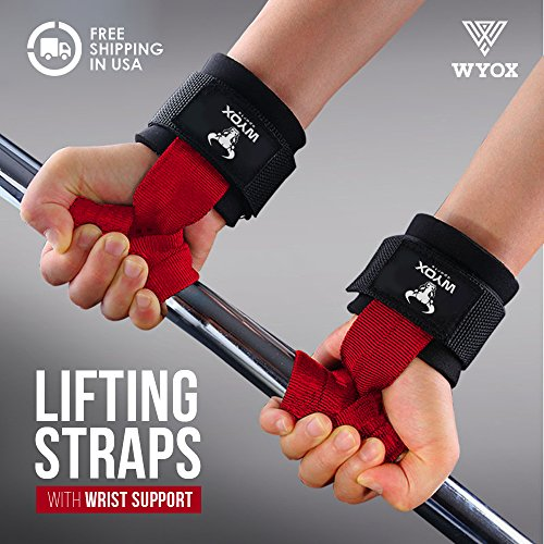 Wyox Weightlifting Bar Straps With Wrist Support Cross fit Gym Power lifting by Wyox Sports