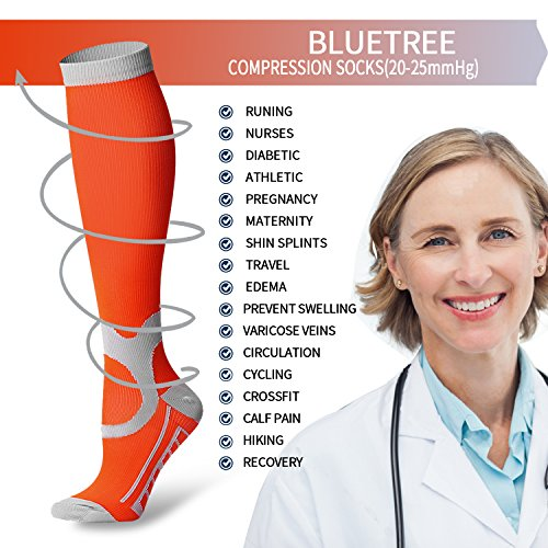 7 Pairs Compression Socks For Women and Men - Best Medical, Nursing, for Running, Athletic, Edema, Diabetic, Varicose Veins, Travel, Pregnancy & Maternity - 15-20mmHg (Assort7-L/XL) by BLUETREE (Image #4)