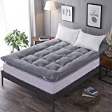 H&Y Deep Sleep Mattress Topper, Reversible Mattress Wool Thick Tatami Floor mat Sleeping Japanese Traditional futon-Hypoallergenic-Grey 90x200cm(35x79inch)