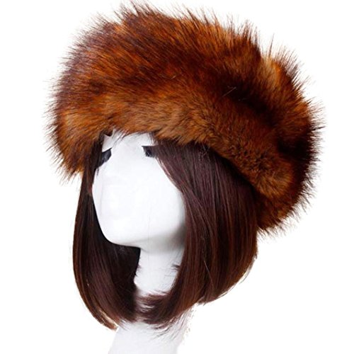 Vovotrade Men Women Winter Faux Fox Fur Hat Soft Ski Headdress Cap (Brown-A)