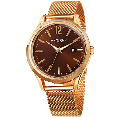 Akribos XXIV AK920 Men's Quartz Gold-Tone Case with Gold-Tone Accented Sunray Dial on Gold-Tone Mesh Stainless Steel Bracelet Watch (Gold/Brown)