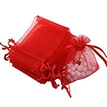 """Dealglad 100pcs Drawstring Organza Jewelry Candy Pouch Party Wedding Favor Gift Bags (4x6"""", Red)"""