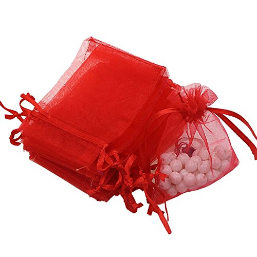 Red Organza Gift Bags (Dealglad 50pcs Drawstring Organza Jewelry Candy Pouch Christmas Wedding Party Favor Gift Bags (5x7