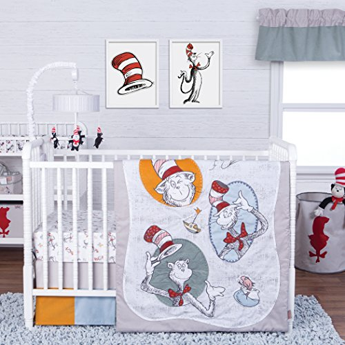 Trend Lab Dr. Seuss Classic Cat in The Hat 3Piece Crib Bedding Set (Dr Seuss Cat In The Hat Crib Bedding)