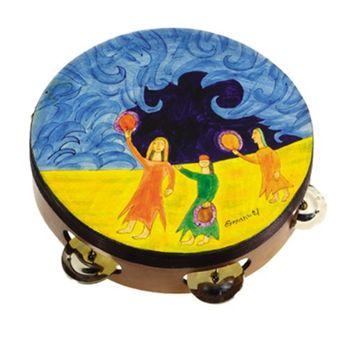 - Miriam and Drums Hand Painted Leather Tambourine