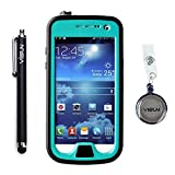 (US) VISUN™ Samsung Galaxy S4 Mini Case - Waterproof Case IP68 Waterproof Shockproof Durable Full Sealed Protection Case Cover with Stylus Pen and Retractable Reel for Samsung Galaxy S4 Mini (Grass Blue)