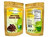 USDA Certified Organic Cacao Nibs - Pure, Raw, Vegan, Non-GMO, Chemical-free, 64 servings (1 lb)