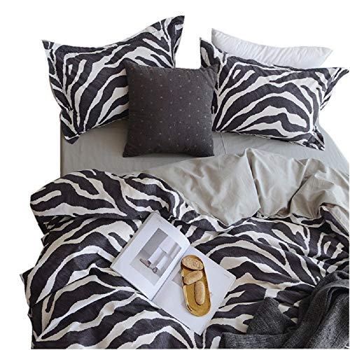Leopard Duvet Cover Set,Luxury 3 Pieces Duvet Cover,100% Cotton Bedding Set,2 Leopard Pillowcase Geometric Ticking Stripe Duvet Cover with Hidden Zipper,4 Corner Ties(No Comforter)