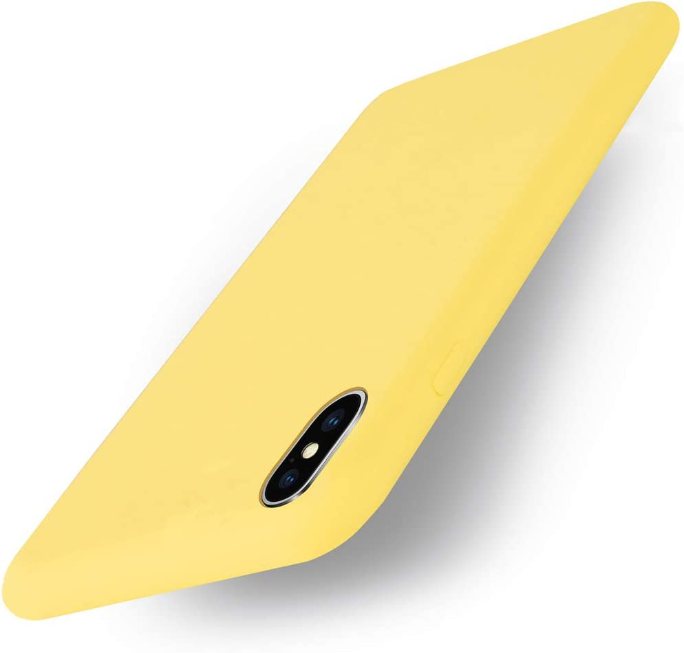 Yajuhoy iPhone Xs Case/iPhone X Case,Liquid Silicone Gel Rubber Slim Fit Soft Mobile Phone Case with Microfiber Cloth Lining Cushion Compatible with Apple iPhone X/Xs 5.8 inch (2018) - Yellow