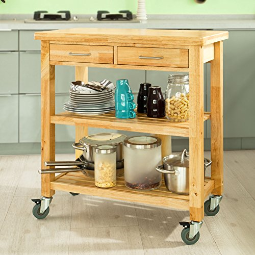 Haotian Rubber Wood Kitchen Storage Serving Trolley Cart with Two Drawers & Shelves, L80xW40xH90cm, FKW24-N by Haotian